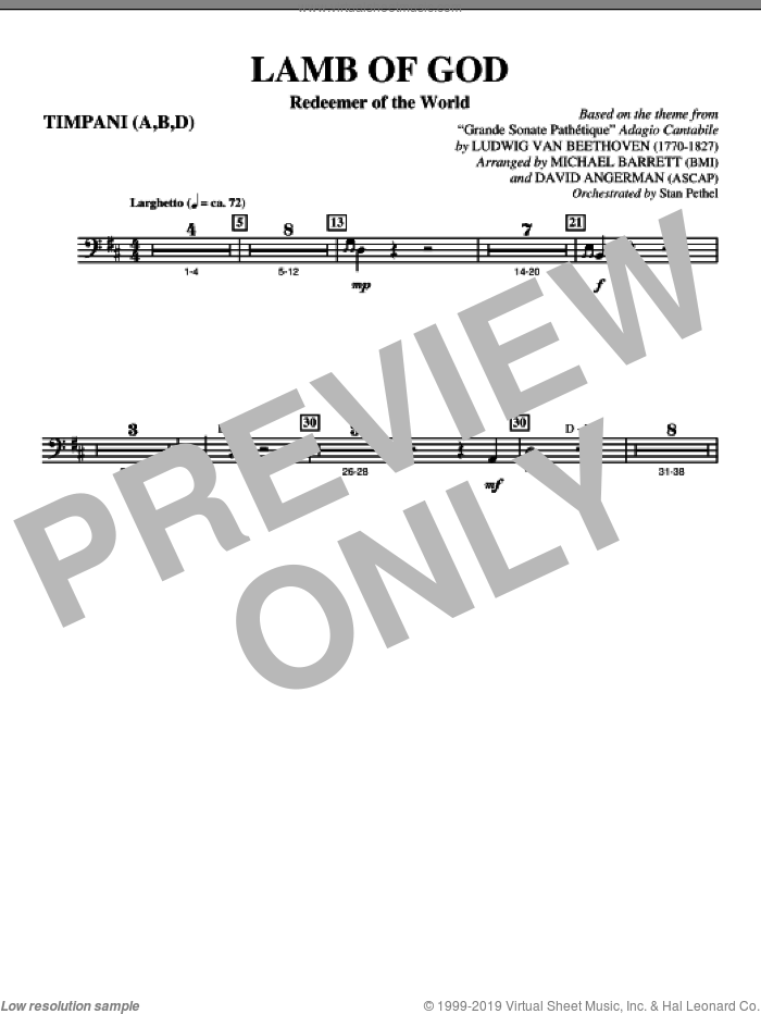 Lamb Of God (Redeemer Of The World) sheet music for orchestra/band (timpani) by Ludwig van Beethoven
