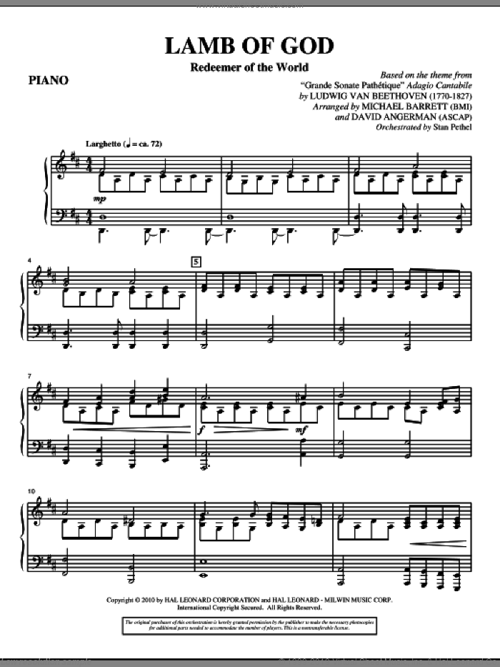 Lamb Of God (Redeemer Of The World) sheet music for orchestra/band (piano) by Ludwig van Beethoven