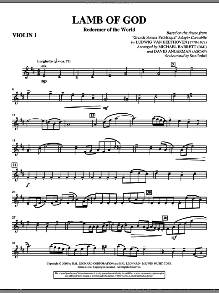 Lamb Of God (Redeemer Of The World) sheet music for orchestra/band (violin 1) by Ludwig van Beethoven