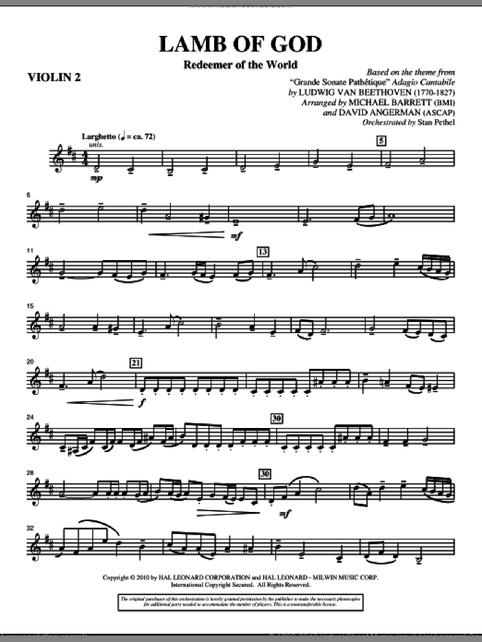 Lamb Of God (Redeemer Of The World) sheet music for orchestra/band (violin 2) by Ludwig van Beethoven