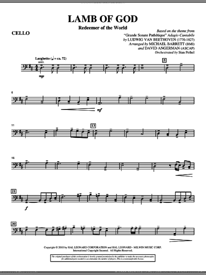 Lamb Of God (Redeemer Of The World) sheet music for orchestra/band (cello) by Ludwig van Beethoven