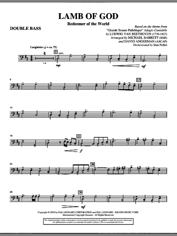 Lamb Of God (Redeemer Of The World) sheet music for orchestra/band (double bass) by Ludwig van Beethoven