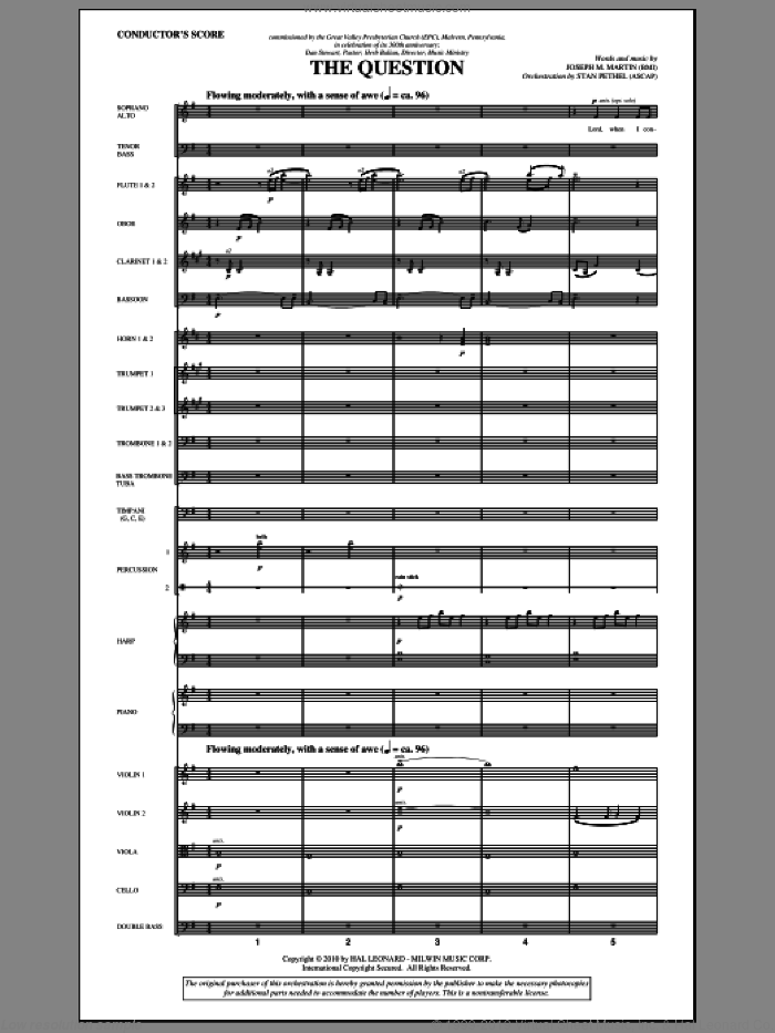 The Question (complete set of parts) sheet music for orchestra/band (Orchestra) by Joseph M. Martin, intermediate. Score Image Preview.