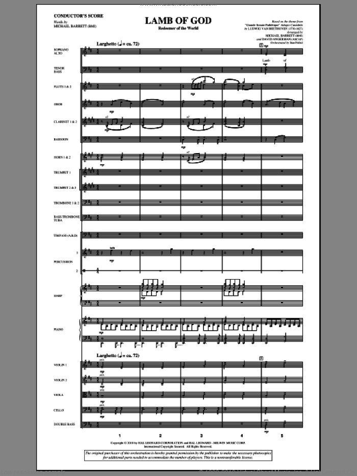 Lamb Of God (Redeemer Of The World) (complete set of parts) sheet music for orchestra/band (Orchestra) by Ludwig van Beethoven, David Angerman and Michael Barrett, intermediate. Score Image Preview.