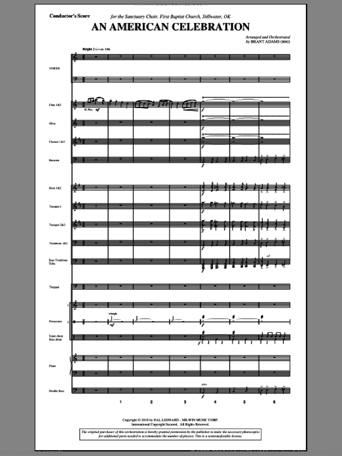 An American Celebration (complete set of parts) sheet music for orchestra/band (Orchestra) by Don Raye, Al Jacobs and Brant Adams, intermediate skill level
