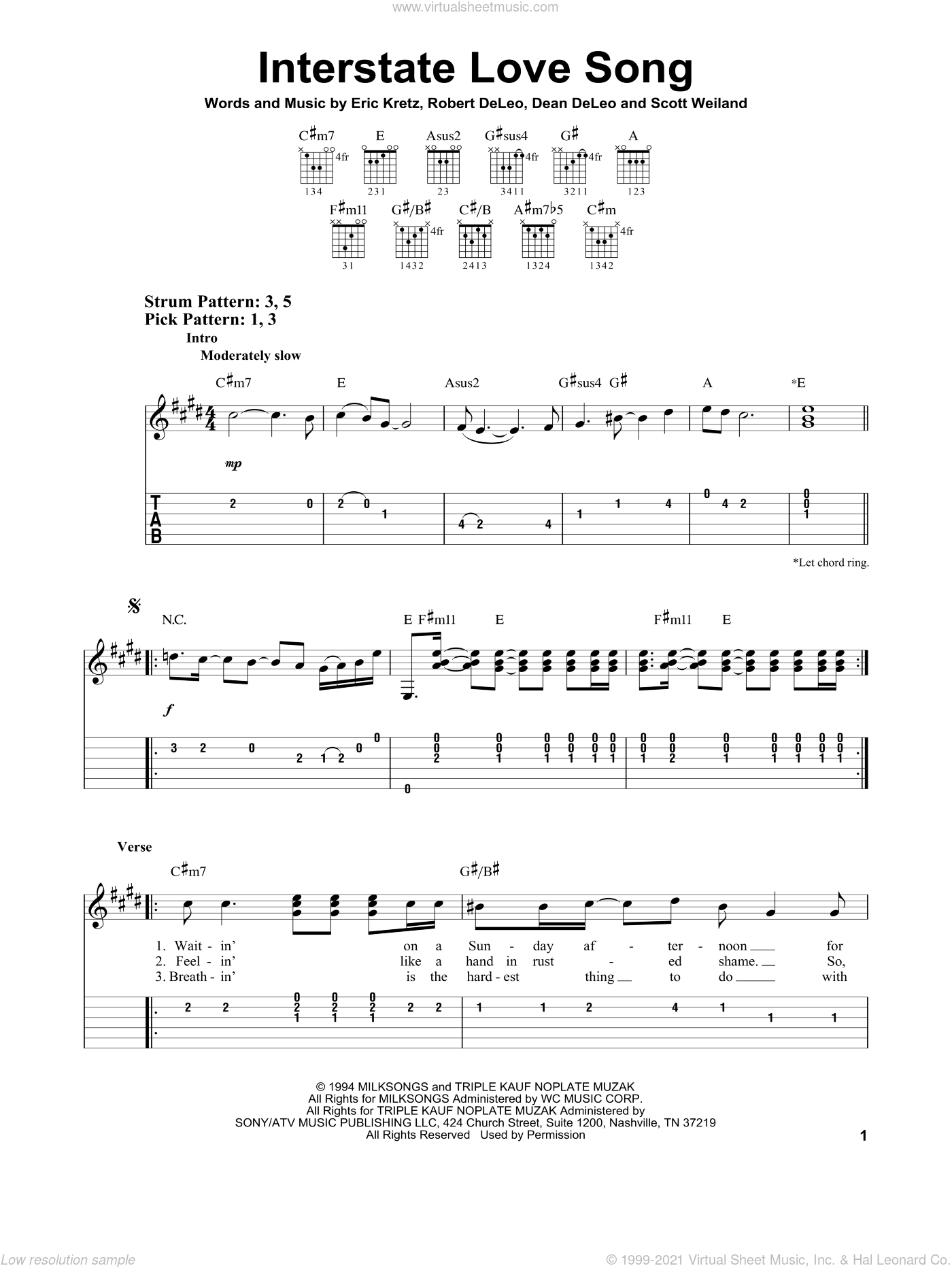 Interstate Love Song sheet music for guitar solo (easy tablature) by Stone Temple Pilots, Dean De Leo, Eric Kretz, Robert De Leo and Scott Weiland, easy guitar (easy tablature)