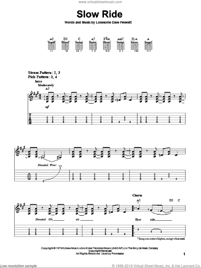 Slow Ride sheet music for guitar solo (easy tablature) by Foghat and Lonesome Dave Peverett, easy guitar (easy tablature)