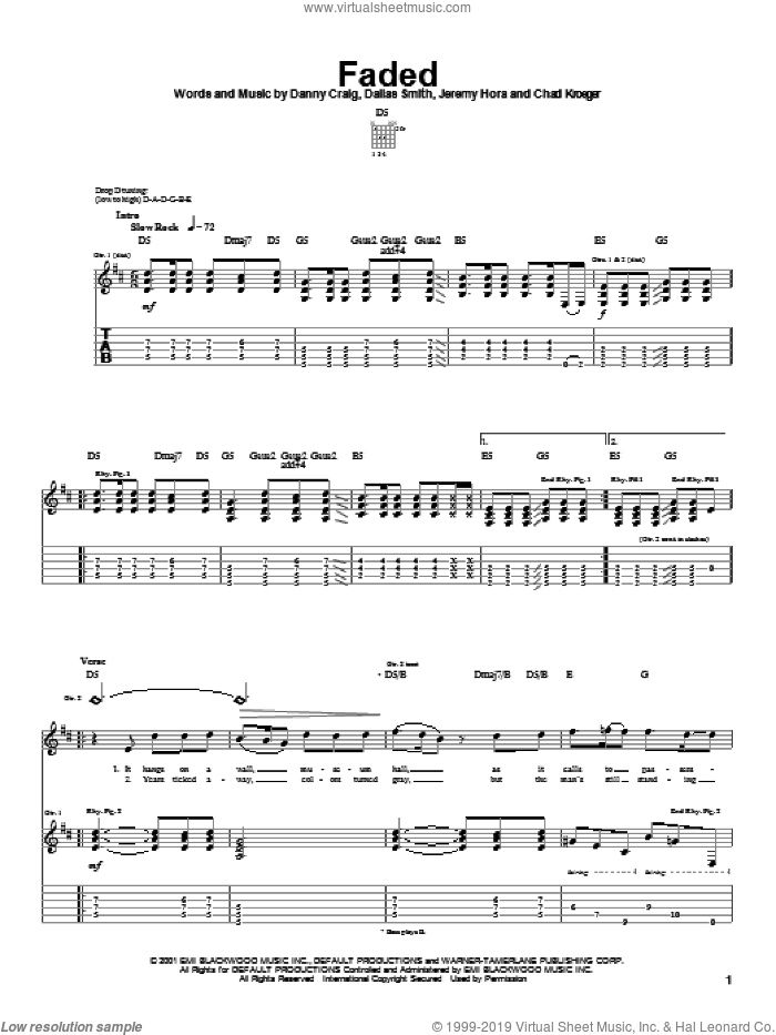 Faded sheet music for guitar (tablature) by Default and Chad Kroeger. Score Image Preview.