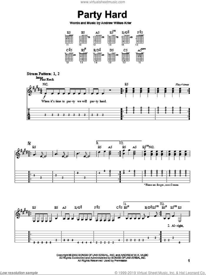 Party Hard sheet music for guitar solo (easy tablature) by Andrew W.K.. Score Image Preview.