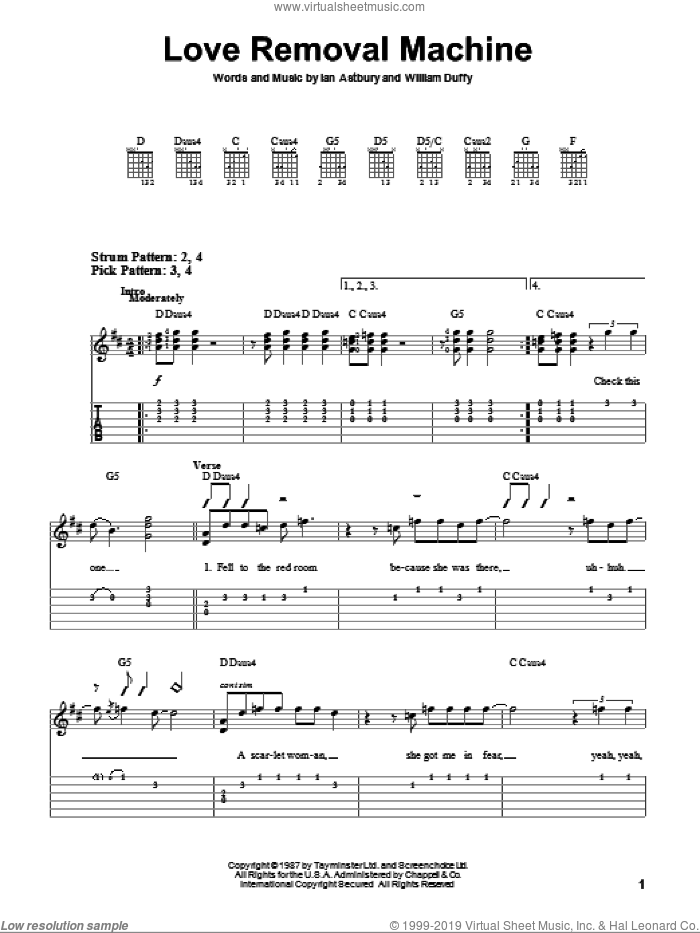 Love Removal Machine sheet music for guitar solo (easy tablature) by The Cult, Ian Astbury and William Duffy, easy guitar (easy tablature)