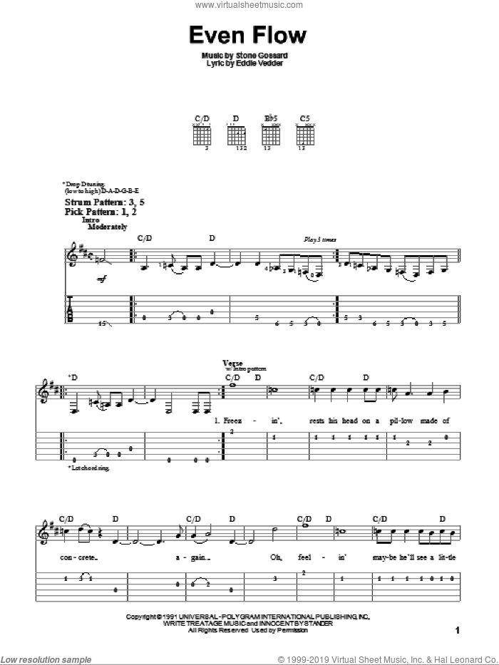 Even Flow sheet music for guitar solo (easy tablature) by Pearl Jam and Eddie Vedder, easy guitar (easy tablature)