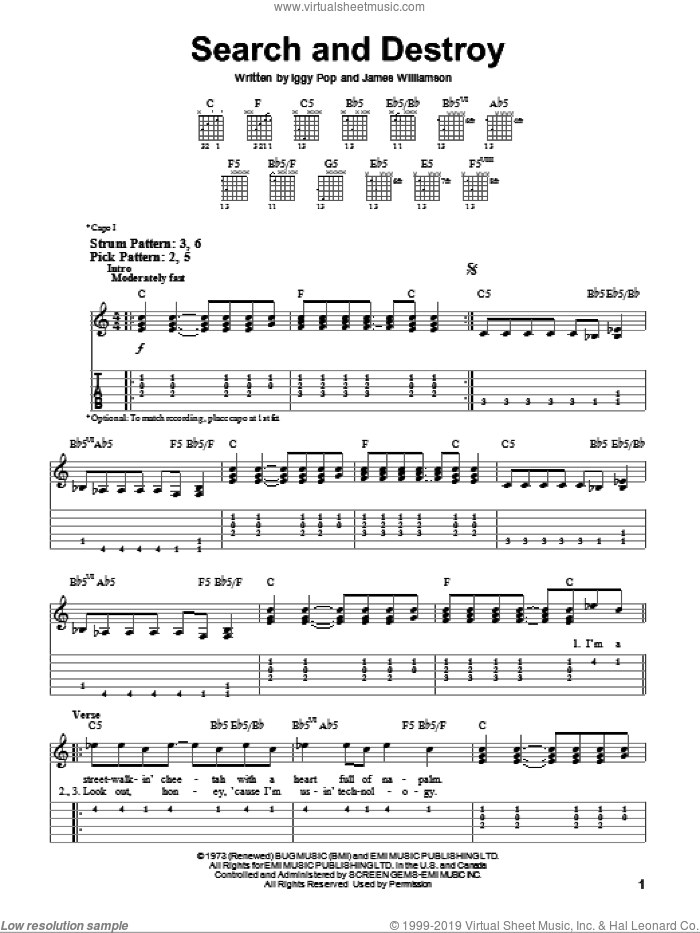 Search And Destroy sheet music for guitar solo (easy tablature) by The Stooges and Iggy Pop, easy guitar (easy tablature). Score Image Preview.