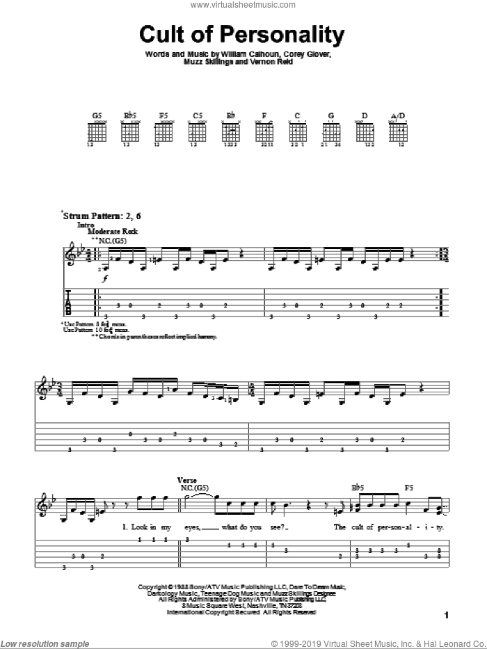 Cult Of Personality sheet music for guitar solo (easy tablature) by Will Calhoun