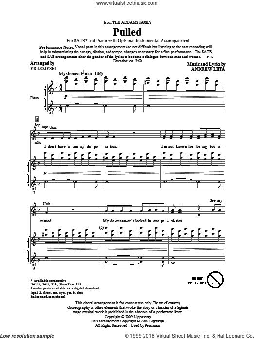Pulled (from The Addams Family) sheet music for choir (SATB: soprano, alto, tenor, bass) by Andrew Lippa and Ed Lojeski, intermediate. Score Image Preview.