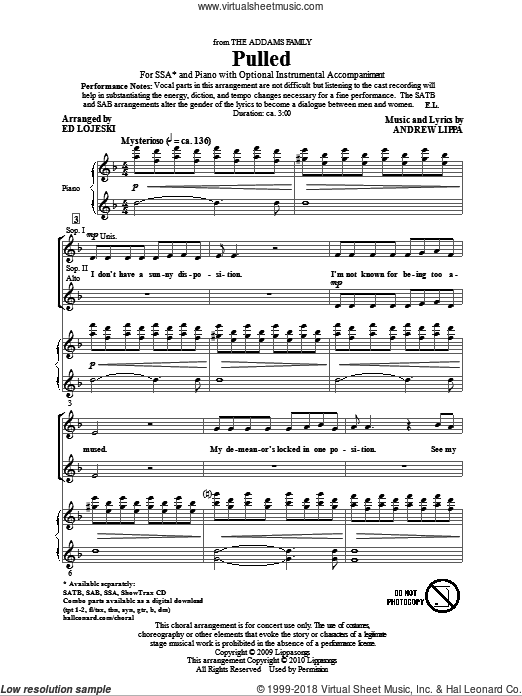Pulled (from The Addams Family) sheet music for choir (SSA: soprano, alto) by Andrew Lippa and Ed Lojeski, intermediate skill level