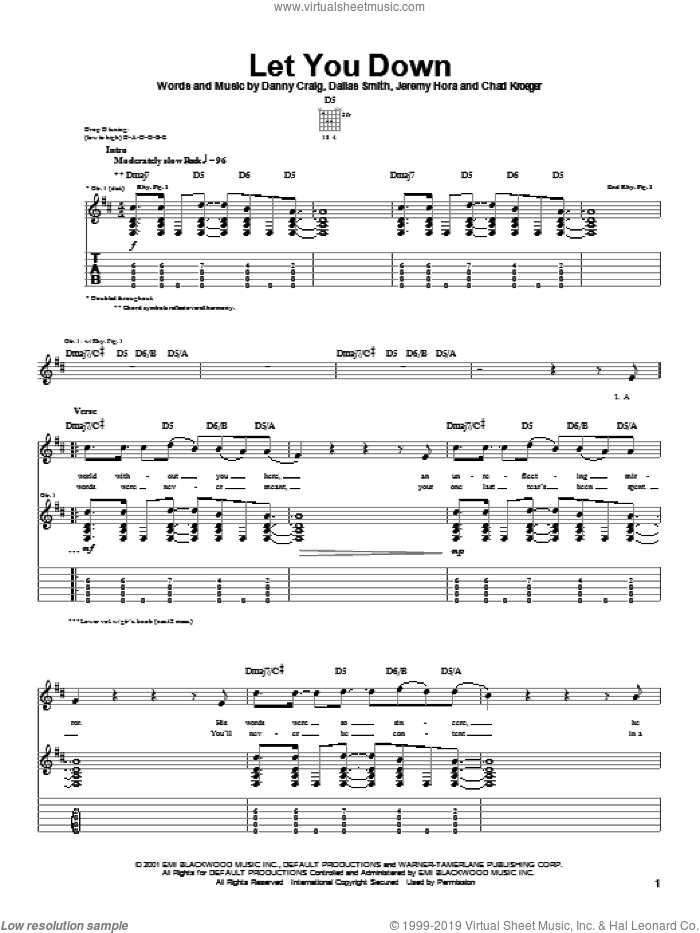 Let You Down sheet music for guitar (tablature) by Danny Craig, Default and Chad Kroeger. Score Image Preview.