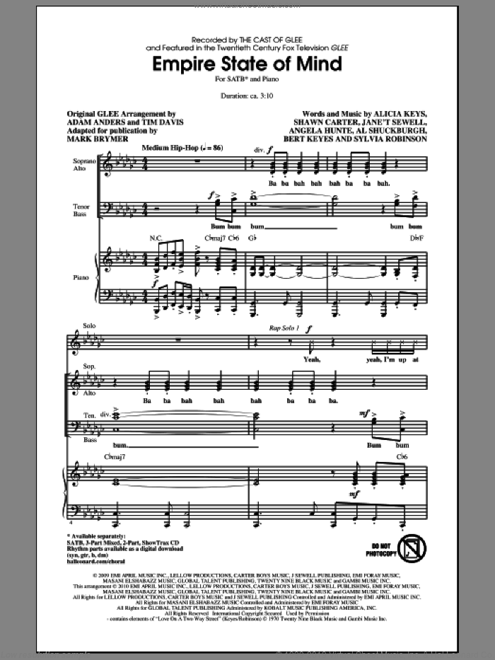 Empire State Of Mind sheet music for choir (SATB) by Alicia Keys, Shawn Carter, Sylvia Robinson, Glee Cast, Jay-Z, Jay-Z featuring Alicia Keys, Mark Brymer and Miscellaneous. Score Image Preview.