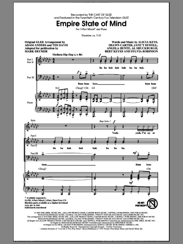Empire State Of Mind sheet music for choir and piano (chamber ensemble) by Al Shuckburgh, Adam Anders, Alicia Keys, Glee Cast, Jay-Z, Mark Brymer, Miscellaneous, Shawn Carter and Sylvia Robinson. Score Image Preview.