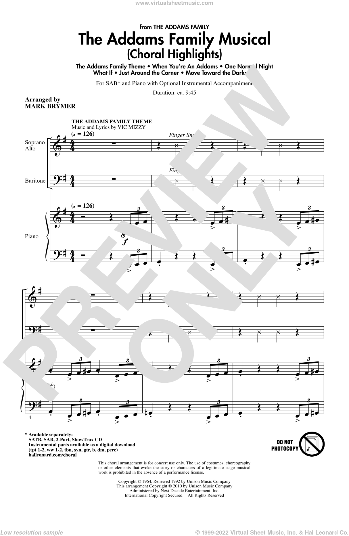 The Addams Family Musical (Choral Highlights) sheet music for choir (SAB) by Mark Brymer, intermediate. Score Image Preview.