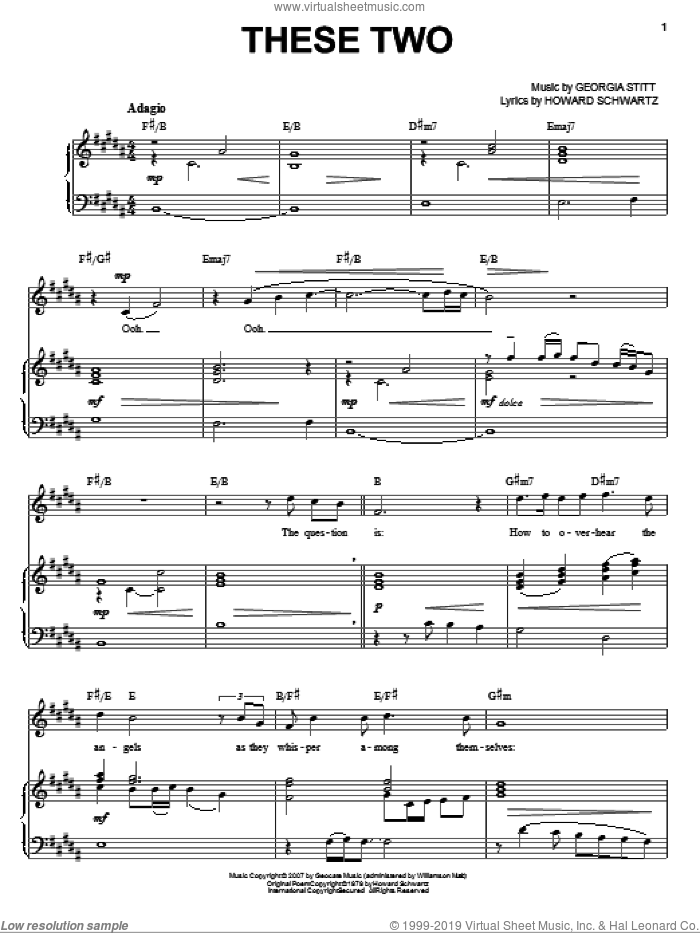 These Two sheet music for voice and piano by Georgia Stitt, Keith Byron Kirk and Howard Schwartz, intermediate skill level