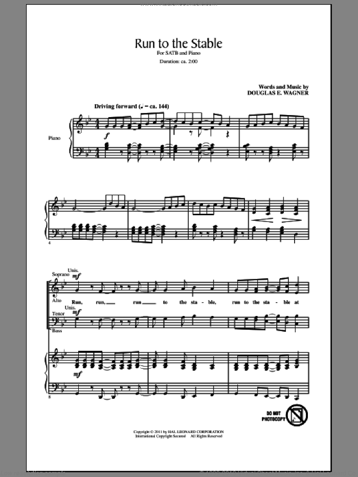 Run To The Stable sheet music for choir and piano (SATB) by Douglas E. Wagner