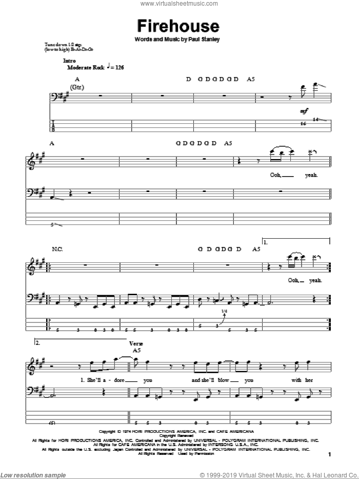 Firehouse sheet music for bass (tablature) (bass guitar) by KISS and Paul Stanley. Score Image Preview.