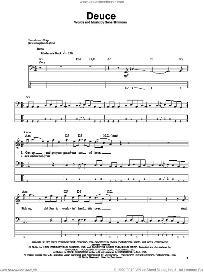 Deuce sheet music for bass (tablature) (bass guitar) by KISS and Gene Simmons. Score Image Preview.
