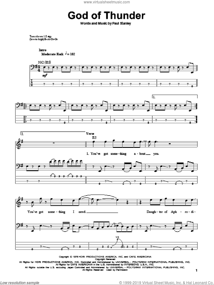 God Of Thunder sheet music for bass (tablature) (bass guitar) by KISS and Paul Stanley, intermediate bass (tablature) (bass guitar). Score Image Preview.