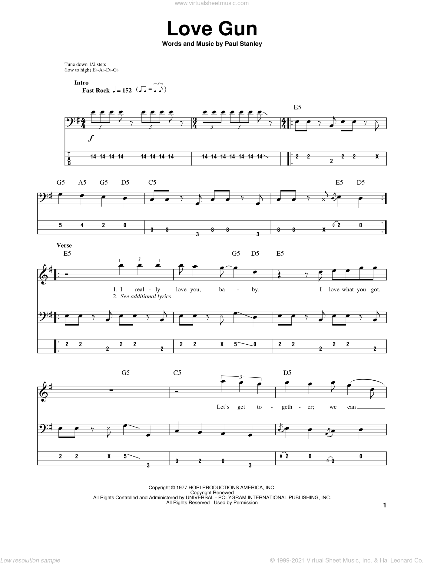 Love Gun sheet music for bass (tablature) (bass guitar) by Paul Stanley and KISS. Score Image Preview.