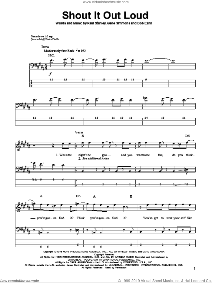 Shout It Out Loud sheet music for bass (tablature) (bass guitar) by KISS, Bob Erzin, Gene Simmons and Paul Stanley, intermediate skill level