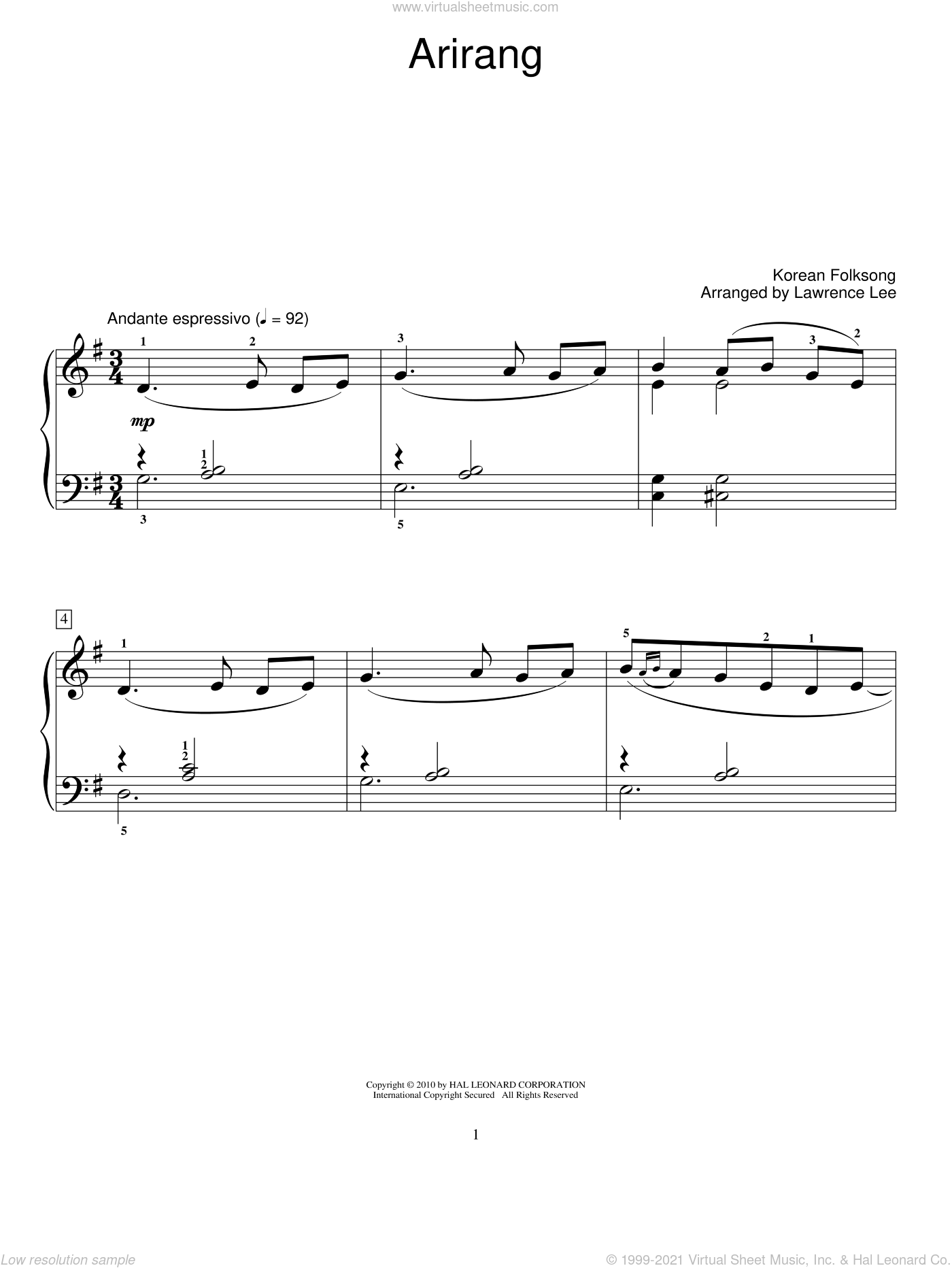 Arirang sheet music for piano solo (elementary). Score Image Preview.