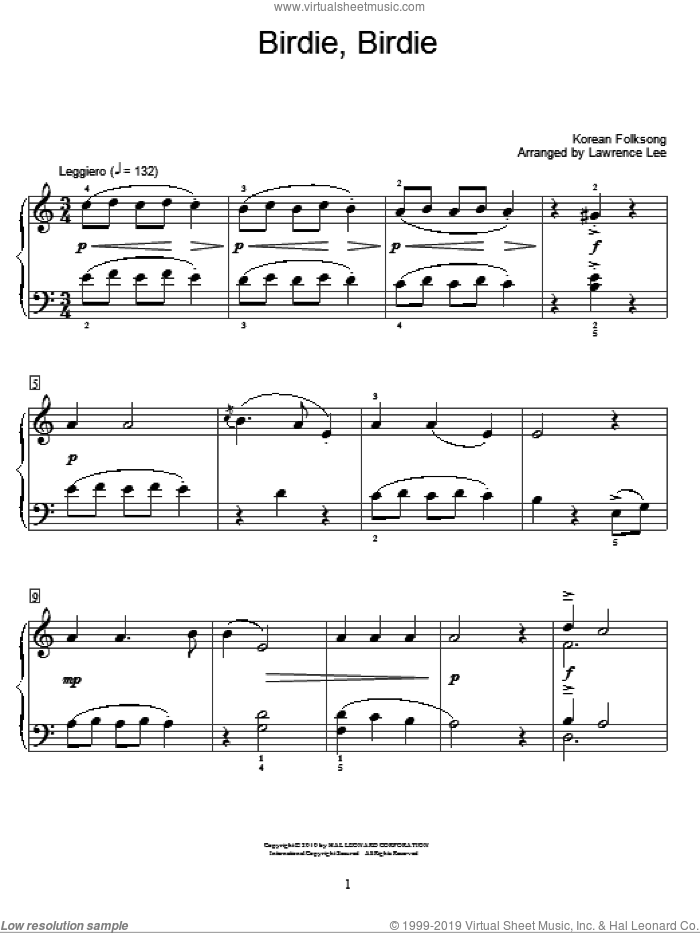 Birdie, Birdie sheet music for piano solo (elementary). Score Image Preview.