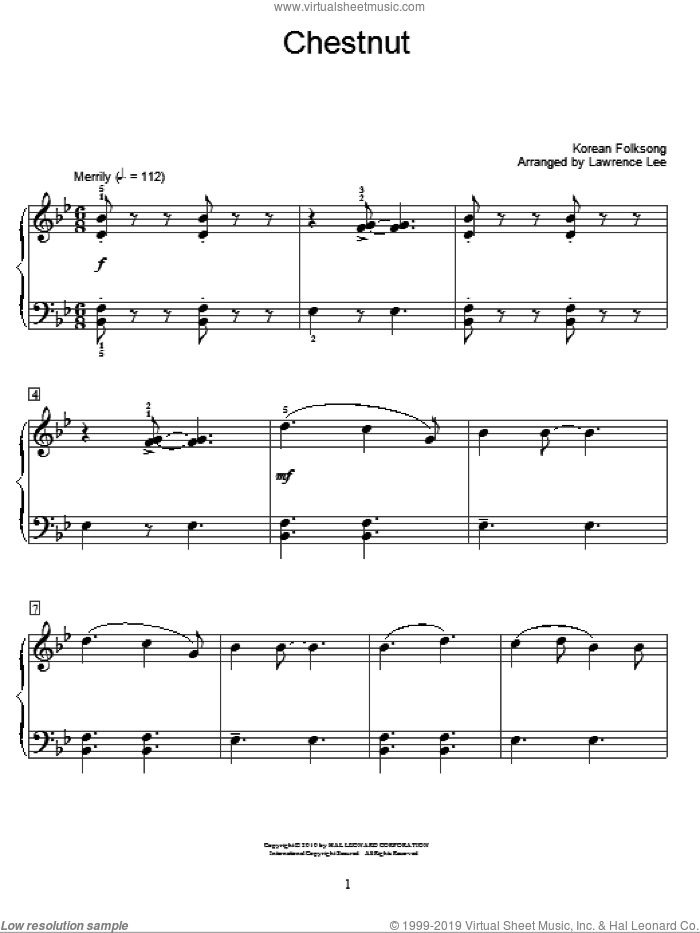 Chestnut sheet music for piano solo (elementary)  and Lawrence Lee, beginner piano (elementary)