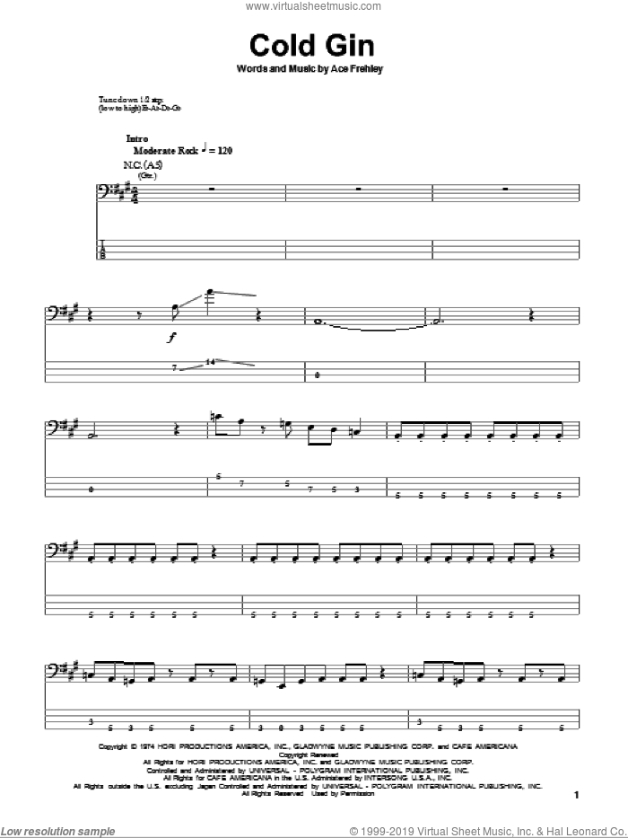 Cold Gin sheet music for bass (tablature) (bass guitar) by Ace Frehley and KISS. Score Image Preview.