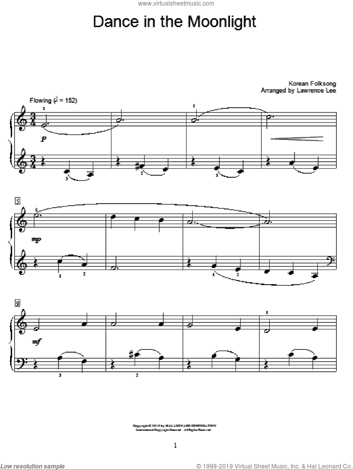 Dance In The Moonlight sheet music for piano solo (elementary), beginner piano (elementary). Score Image Preview.