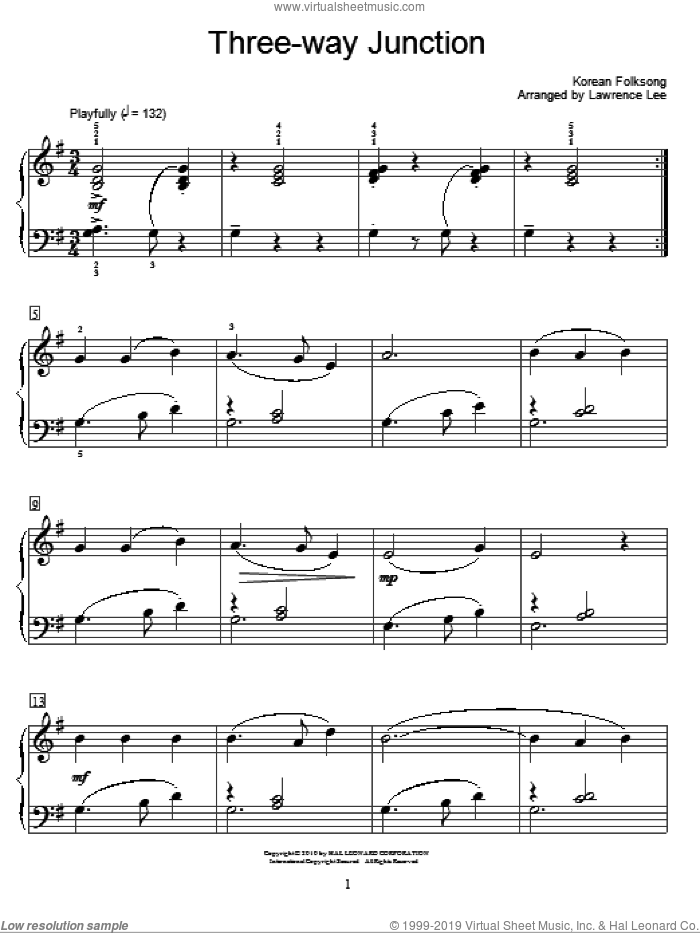 Three-Way Junction sheet music for piano solo (elementary)  and Lawrence Lee, beginner piano (elementary)