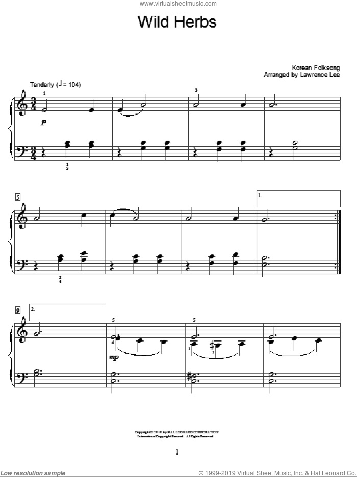 Wild Herbs sheet music for piano solo (elementary). Score Image Preview.