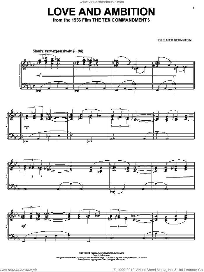 Love And Ambition sheet music for piano solo by Elmer Bernstein, intermediate. Score Image Preview.
