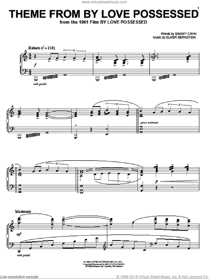 Theme from By Love Possessed sheet music for piano solo by Elmer Bernstein and Sammy Cahn, intermediate skill level