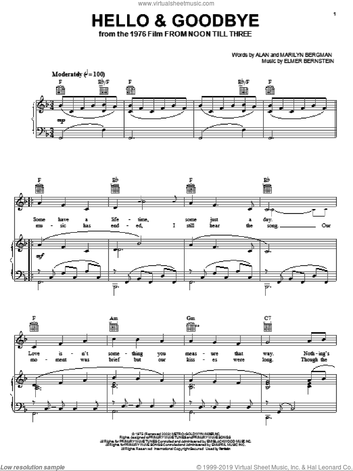 Hello and Goodbye sheet music for voice, piano or guitar by Elmer Bernstein, Alan Bergman and Marilyn Bergman, intermediate skill level