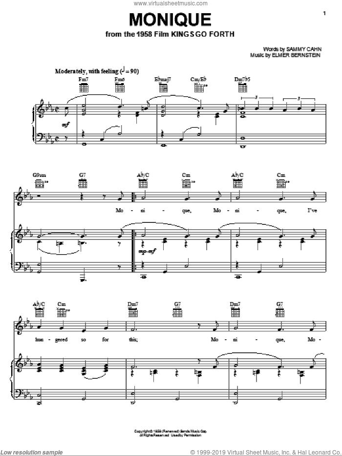 Monique sheet music for voice, piano or guitar by Elmer Bernstein and Sammy Cahn, intermediate skill level