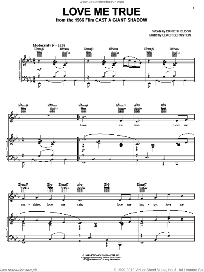 Love Me True sheet music for voice, piano or guitar by Ernie Sheldon