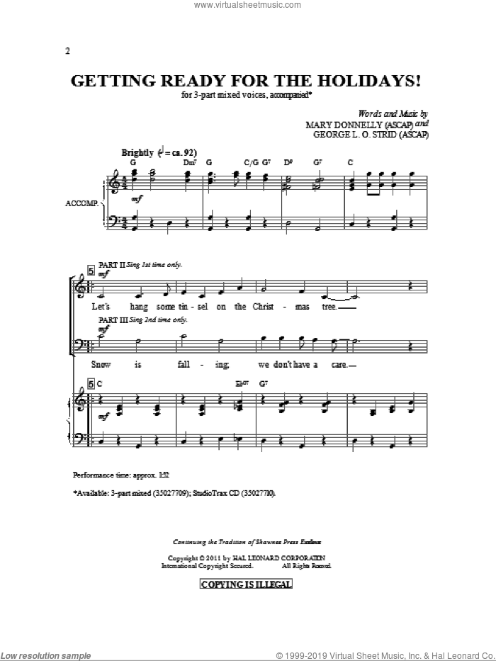 Getting Ready For The Holidays! sheet music for choir (3-Part Mixed) by Mary Donnelly and George L.O. Strid, intermediate skill level
