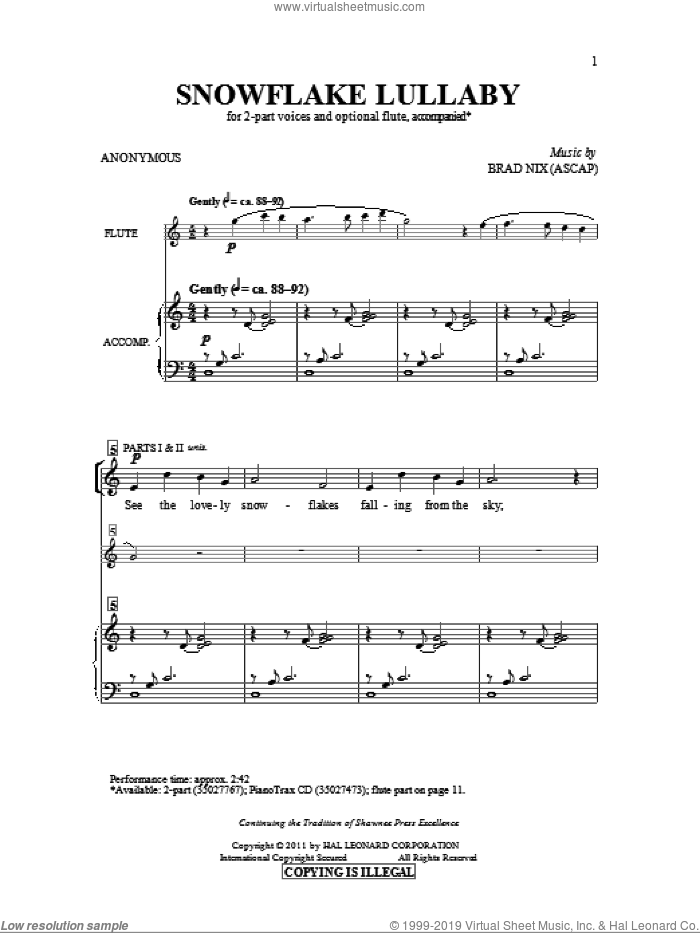 Snowflake Lullaby sheet music for choir (2-Part) by Brad Nix and Anonymous, intermediate duet