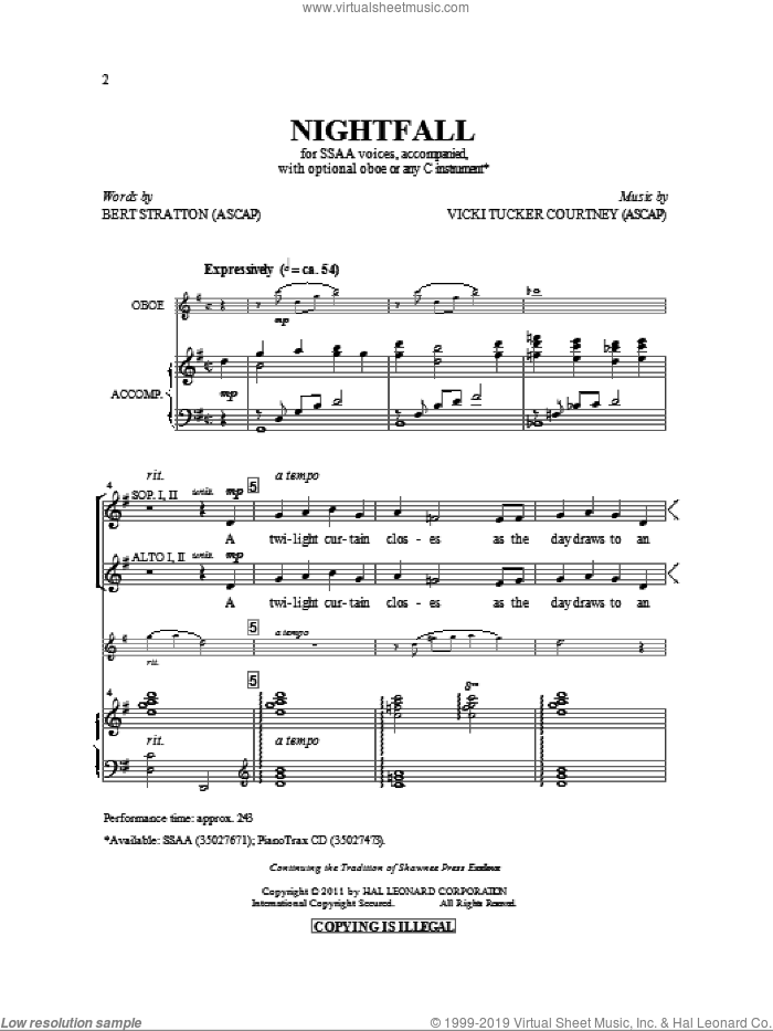 Nightfall sheet music for choir (soprano voice, alto voice, choir) by Vicki Tucker Courtney and Bert Stratton. Score Image Preview.