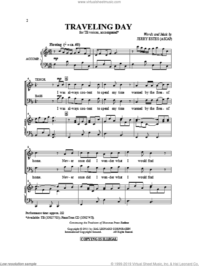 Traveling Day sheet music for choir and piano (TB) by Jerry Estes
