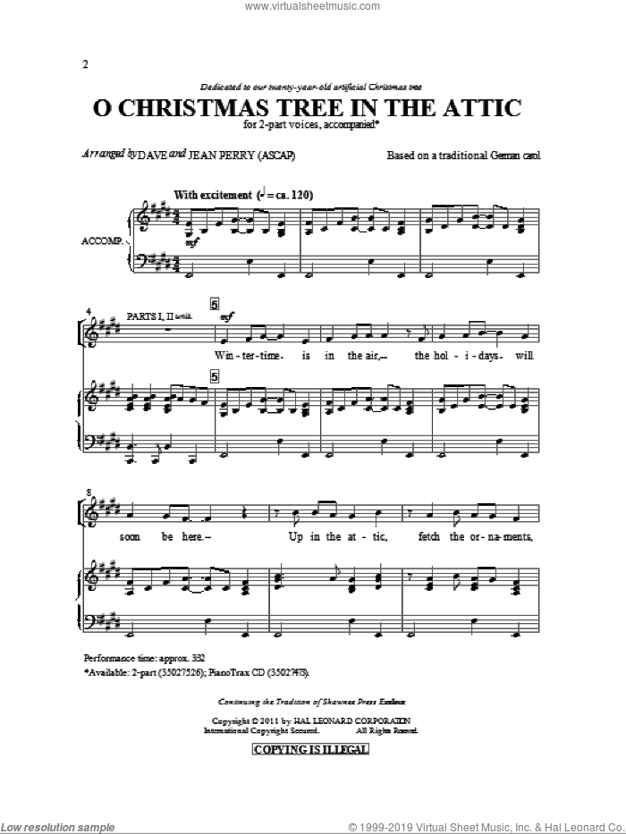 O Christmas Tree In The Attic sheet music for choir (2-Part) by Dave Perry, Jean Perry and Miscellaneous, intermediate duet