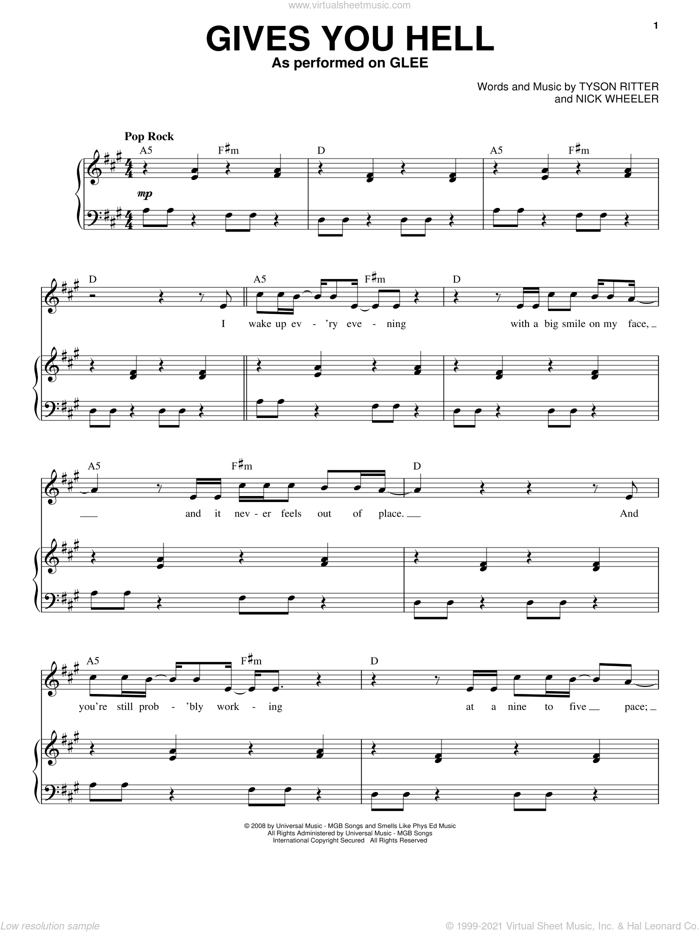 Gives You Hell sheet music for voice and piano by Glee Cast, Miscellaneous, The All-American Rejects, Nick Wheeler and Tyson Ritter, intermediate skill level