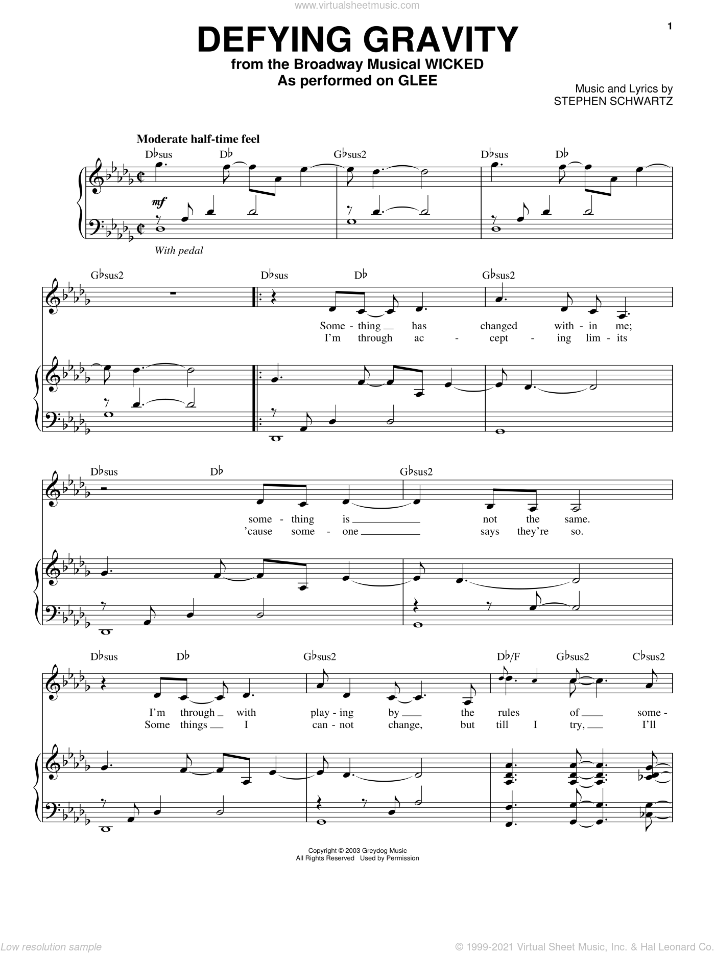 Defying Gravity sheet music for voice and piano by Glee Cast, Miscellaneous and Stephen Schwartz, intermediate skill level