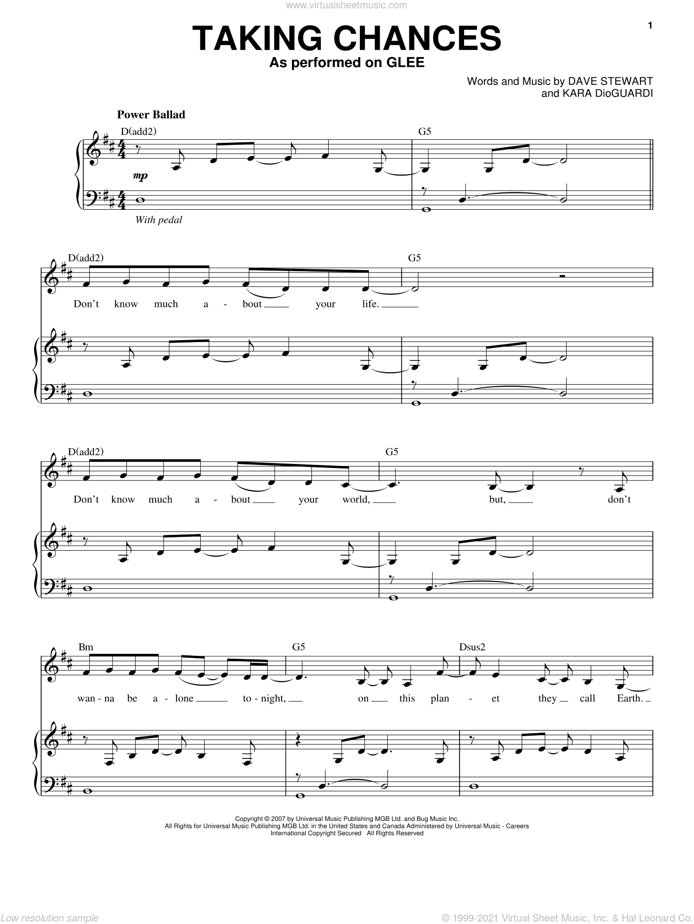 Taking Chances sheet music for voice and piano by Glee Cast, Celine Dion, Miscellaneous, Dave Stewart and Kara DioGuardi, intermediate voice. Score Image Preview.